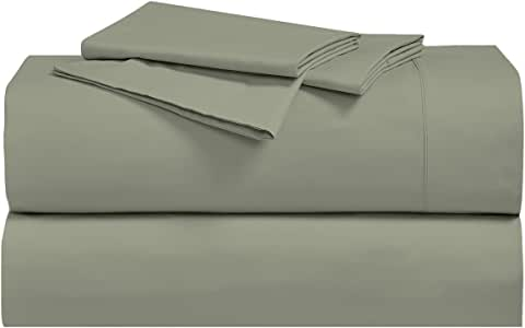 Royal's Solid Sage 250-Thread-Count 3pc Twin-Extra-Long Bed Sheet Set 100-Percent Cotton, Superior Percale Weave, Crispy Soft, Deep Pocket, 100% Cotton