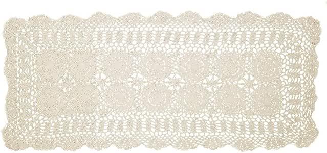 Kilofly 手工制作钩针花边矩形桌巾,各种尺寸 米色 15 x 51 inch KTW387BEIs130