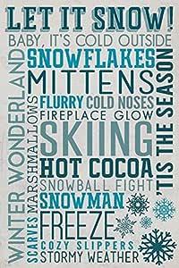 "Let It Snow 排版 ""Multi"" 9 x 12 Art Print LANT-54659-9x12"