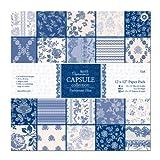 Papermania 30.48 x 30.48 厘米胶囊系列纸包,32 包,Parisienne 蓝色
