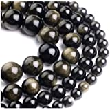 天然石英宝石圆形松散宝石宝石珠耳环手链项链魅力脚链 1. Gold Sheen Obsidian 4 750253002992