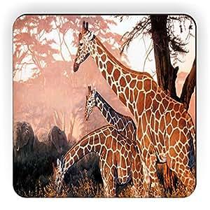Rikki Knight Three Giraffes on Safari Design Square Fridge Magnet