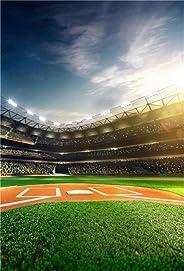 AOFOTO 棒球投球公园背景棒球场摄影背景运动游戏体育场漂浮者比赛成人儿童男孩儿童艺术肖像摄影工作室道具乙烯基墙纸Q18x25NBK00438 6x8ft BF-A1