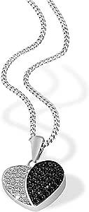 Goldmaid 亚马逊进口直采 德国品牌 925纯银心形 女士项链 镶36颗黑白两色方晶皓石
