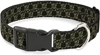 """Buckle Down PC-W30119-NL Angry Girl 黑色/粉色塑料夹领 Top Skulls Black/Camo Olive 1.5"""" Wide - Fits 13-18"""" Neck - Small"""