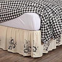 Piper Classics Lydia 黑色花卉大号双人床裙,40.64 厘米裙深,复古农舍波西米亚风格印花床上用品,奶油色和黑色床罩