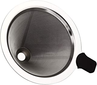 TEEMADE Pour Over Coffee Filter 可重复使用不锈钢滴滤锥,适用于 Chemex、Hario V60、玻璃瓶和其他咖啡壶