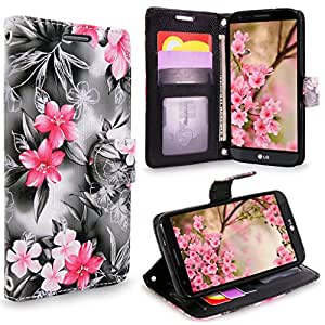 LG Stylo 3 手机壳,Cellularvilla [钻石]浮雕花设计优质 PU 皮革钱包式手机壳[卡槽] [支架功能]翻盖翻盖LG Stylo 3 Plus/LG Stylus 3 LS777CV-LG-LS777-REGL-WLT-B-P-F 黑色粉色花朵