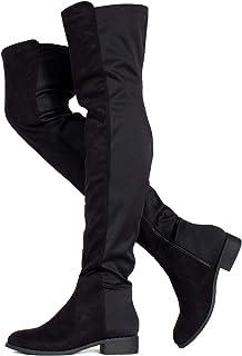 房间 OF 时尚 ROF 女式时尚舒适 vegan 绒面侧拉链过膝靴