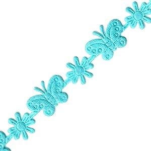 Venus Ribbon 14673-F 1.59cm 熨烫毛毡花卉和蝴蝶装饰,5 码海洋蓝