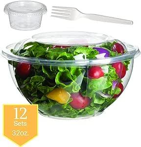 Salad Bowls to go with Lids/forks/souse 杯(12 只装)- 透明塑料一次性沙拉容器,清新,密封,玫瑰碗容器(32 盎司) unknown