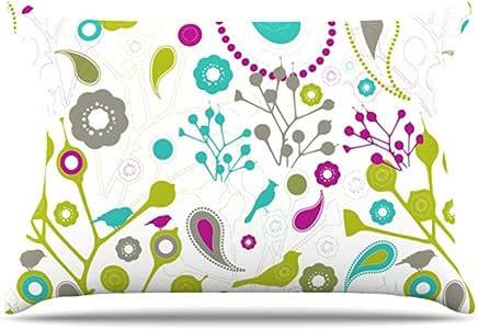 Kess InHouse Nicole Ketchum 鸟幻想 30 x 20 英寸枕套,标准