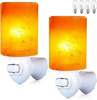 Pursalt 喜马拉雅盐灯插入夜灯 2 件装,360 度可调节壁插和额外 4 个替换灯泡浴室卧室夜灯,粉色水晶石盐手工制作圆筒尺寸