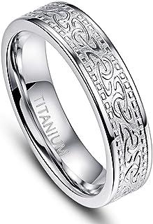 6 毫米凯尔特钛合金戒指男式抛光时尚风格银色婚戒尺寸 7-12