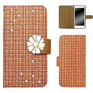 白色坚果 ツィード 装饰手机保护壳翻盖式 橙色 10_ Disney Mobile on docomo N-03E