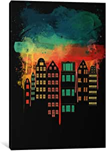 """iCanvasART 1 Piece City At Night Canvas Print by Darklord, 26 by 18""""/0.5"""" Deep"""