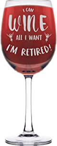 Shop4Ever I Can Wine All I Want I'm Retired 激光雕刻*杯(42.27 g,*红色) 茎 Stemmed_WineWR_1