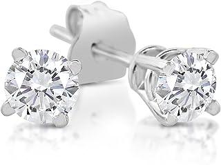 1/5-1.00 克拉总重 14k 白金钻石耳钉(1.00 克拉+ IGI 认证)