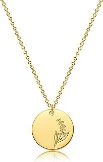 Mevecco 诞生花项链 18k 金雕刻定制花卉吊坠项链 精致出生月花圆盘魅力手印花盘项链 个性化珠宝生日礼物