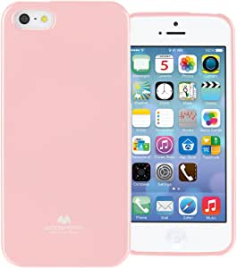 GOOSPERY Marlang iPhone SE/5S/5 手机壳,免费屏幕保护膜【贴合】TPU 手机壳【灵活】珍珠果冻【保护】苹果 iPhoneSE 5S 5 防撞保护套。 婴儿粉红色