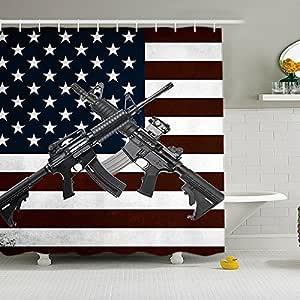 ALDECOR 乡村风格旧木制浴帘印刷 美国国旗设计 涤纶面料 浴室淋浴帘套装 带挂钩 图案 4 72x72 BFN08
