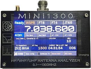 MINI1300 HF/VHF/UHF ANT SWR 天线分析仪 0.1-1300MHz 带 TF 卡 4.3 英寸 TFT LCD 触摸屏铝合金外壳