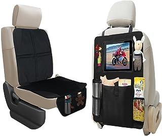 lebogner 汽车座椅保护罩 + 后座收纳袋带 iPad 和平板电脑支架,耐用优质座椅套,5 口袋存储汽车座椅靠背收纳器和踢垫保护垫,旅行配件收纳袋