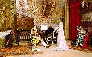 OdsanArt 40.64cm x 25.4cm De Stijl 舞者,People 'The Music Lesson' 作者 Raimundo de Madrazo y Garreta 精美帆布印刷艺术画