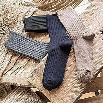 Naturhand 南禾 IZMIR秋冬新款男士袜子 抽条保暖羊毛袜 纯色柔软竖条绅士保暖男袜子 (4双混色)