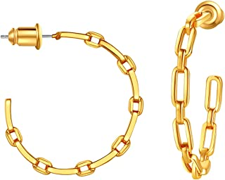 ChainsPro 女士/少女别致螺旋式耳环,925 纯银海报,20/30/50/70MM,后背设计,18K 镀金(发送礼品盒)