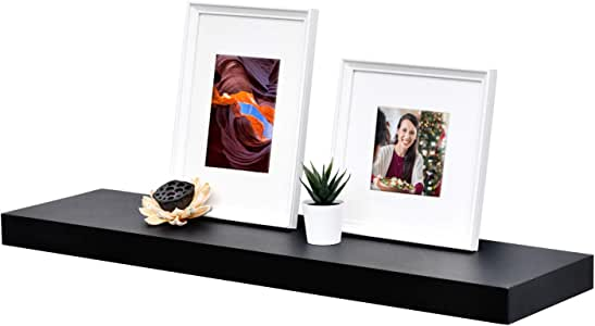 "WELLAND 2"" Thickness Mission Floating Wall Shelf, Approx 36"" Length, Black"