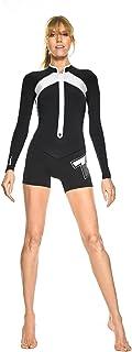 GlideSoul 女式 Flashback 74 系列 2mm 春季套装带前拉链,黑色/白色,XS 码