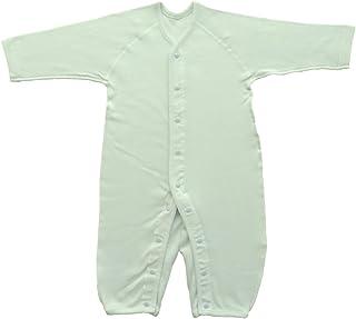 Baby Story 伸缩性长袖前开式连体婴儿服 双面罗纹 日本产 N77613 萨克斯 90-100