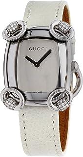 Gucci 女式瑞士石英不锈钢和皮革休闲手表,颜色:白色(型号:YA117506)