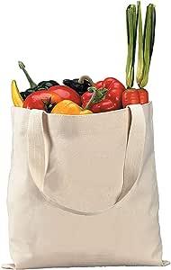 """手提袋商店,*纯棉天然包,环保空白大手提袋,促销袋,可重复使用的购物杂货手提袋,12件套 天然 15""""W x 16""""H"""