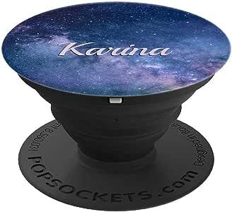 Karina 名字礼物 蓝色银河主题个性化 PopSockets 手机和平板电脑握架260027  黑色