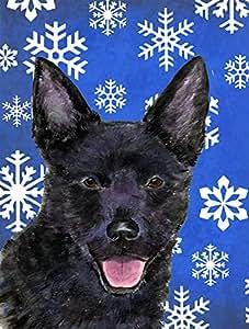 Australian Kelpie Winter Snowflakes Holiday Flag 多色 大