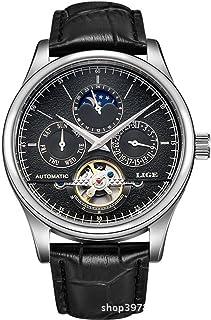 Watch 奢华男式多功能自动上链手表棕色皮革表带镂空手表