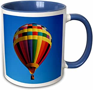 3dRose Carsten Reisinger Photography - Hot air balloon colorful transportation sky blue - Mugs 蓝/白 11 oz