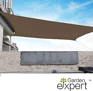 Garden EXPERT 遮阳帆矩形遮阳篷遮阳棚适用于庭院花园户外活动和活动 16'x16' 棕色