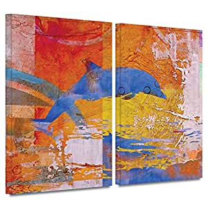 ArtWall Greg Simanson 'Dolphin' 2-Piece Gallery Wrapped Canvas Art, 24 by 32-Inch