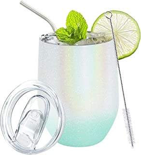 12 盎司(约 340.2 克)酒杯,双层真空隔热酒杯不锈钢旅行杯,带防溢盖,吸管和刷子,适用于香槟、鸡尾酒会、啤酒、饮料