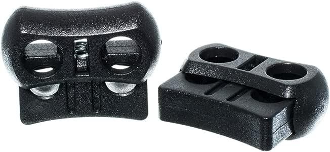 Craft County 黑色塑料双孔可调节绳扣 - 双开口,宽桶,弹簧安装设计 - 包装尺寸为 5、10、25、50、100、250、500 和 1000 黑色 每包10条 10 X 2CLBOW-~CFT_TS4218