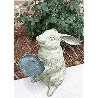 Whimsical Bunny Rabbit Holding Leaf Bird Feeder Garden Decor Aluminum Statue For Pool Patio Decoration Functional Nature Outdoor Decor