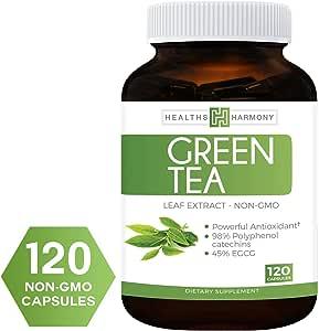 绿茶提取物120粒,EGCG可改善代谢 - 天然 - 强力多酚儿茶素类补充剂