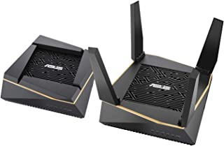 华硕 RT-AX92U AX6100 三频全家庭网面 Wifi 系统适用于大型和多层家庭,弹性 NAT 设置,有线路由器连接,AiProtection,Trend Micro 免费*,2 件装