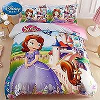迪士尼儿童四件套纯棉女孩公主风全棉床单三件套卡通床品女童被套 SF-0226可爱苏菲亚 1.2m宽床(三件套) 被套:150×200cm