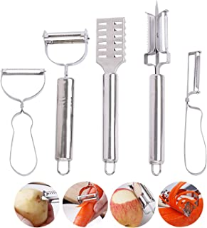 不锈钢 5 件套削皮器套装多功能 4 种削皮设备和鱼削皮器刷,超锋利厨房削皮器,适用于蔬菜、土豆、胡萝卜和水果厨房工具套装