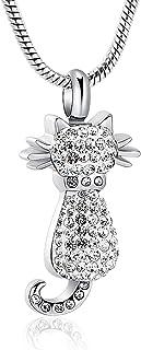 Imrsanl 可爱猫骨灰盒项链纪念吊坠适用于骨灰架不锈钢纪念品宠物灰首饰
