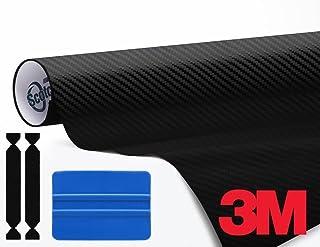 VViViD 3M DI-NOC 黑色碳纤维乙烯基薄膜 121.92 cm x 3.65 cm 卷全包装工具,包括 1x 蓝色刮刀 2X 保护毛毡边缘贴纸